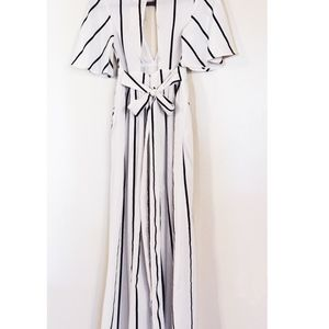 Pants - Black and white stripe Romper